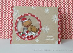 Holiday Card with Cat & Christmas cookies by Tatiana! Newton's Holiday Mischief Stamp Set by Newton's Nook Designs #newtonsnook #cat #christmas #card #stamped #sparkle  #sequins #shakercard