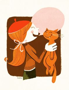 Ohayo Mie print by S. Britt (via Thompson Family Life) #SBritt #cat #brown #beanie