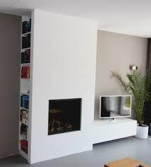 Bildergebnis für tv inbouwen in muur + boekenkast