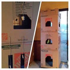 DIY-Home Depot 22x22x21 moving boxes turned into Cat Castle Playhouse with bead toys. Glue 1st box closed. Use template for doors , windows & cut hole near top corner. Glue bottom 2nd box set on top 1st trace hole, cut. Cut scrap carpet to fit bottom. Use glue gun to keep down. Then glue top & cut hole in top opposite side. Repeat steps. When all stories finished craft glue boxes together.  Then wrap with packing tape. Sticky velcro bottom box to heavy wood or stone base.