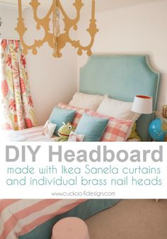 DIY headboard made with Ikea Sanela curtains and individual brass nails - Cuckoo4Design