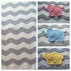 Chevron Elephant Baby Blanket- Pink Gray / Yellow Gray / or Blue Gray - Your Choice of Elelphant Color - Crochet Elephant Baby Nursery