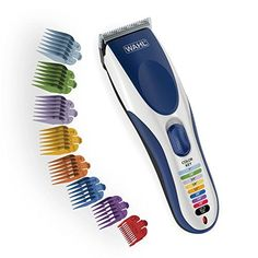Wahl Clipper Color Pro Cordless Rechargeable Hair Clippers, Hair trimmers, 21 pieces Hair Cutting Kit, Color Coded guide combs For Men, Kids and Babies By The Brand used by Professionals. Barber Clippers, Easy Hair Cuts, How To Cut Your Own Hair, Hair Clippers & Trimmers, Beard Trimming, Grooming Kit, L'oréal Paris, Professional Hairstyles, Color Azul