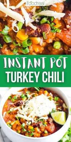 Instant Pot Turkey Chili is the ultimate fall and winter comfort food. Ground turkey, beans, veggies and spices simmer for 15 minutes in your electric pressure cooker with a taste like it has been cooking all day.