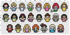 PATTERN ONLY  about 10x5 inches  14 pt cloth  Includes:  Snow White, Cinderella, Alice, Tinkerbell, Wendy, Aurora, Ariel, Belle, Jasmine,