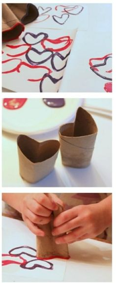 Hearts with paper towel/toilet paper rolls