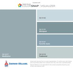 I found these colors with ColorSnap® Visualizer for iPhone by Sherwin-Williams: Meditative (SW 6227), Moonmist (SW 9144), Whirlpool (SW 9135), Favorite Jeans (SW 9147), Tradewind (SW 6218).