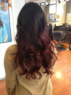 Dark chocolate brown to mahogany red ombre.