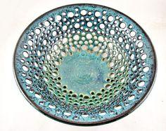 Teal blue pottery fruit bowl, handmade modern home decor - In stock 75 FB E 81 FB A