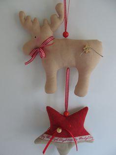Weihnachtsdeko - Süße Elchgirlande - Weihnachten - Dekoration - ein Designerstück von mit-Stich-und-Faden bei DaWanda