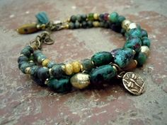 Bohemian Bracelet / Trade Beads / Ruby Zoisite / Gypsy Bracelet / Gypsy Jewelry / Boho Bracelet / Bohemian Jewelry / Dragonfly Bracelet