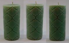 Designer Pillar Candle -Green color -Set of 3 Scented Pillar Candles, Green Colors, Design, Colors Of Green