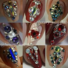 Beautiful nails by Ugly Duckling Master Educator ? Ugly Duckling Nails is dedicated to keeping love, support, and positivity flowing in our industry ❤️ Swarovski Nails, Crystal Nails, Rhinestone Nails, Bling Acrylic Nails, Glitter Nail Art, Bling Nails, City Nails, Gem Nails, Nail Crystal Designs