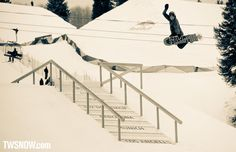 Louif Paradis won the Real Snow contest today. He's hoping the fake streets treat him as well as the real streets. PHOTO: Nick Hamilton | 2013 Winter X Games Snowboard Street Preview | TransWorld SNOWboarding