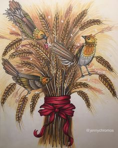 A christmas sheaf I think it is called. From Tidevarv with Luminance. #tidevarv #hannakarlzon #hannakarlzontidevarv #hannakarlzonseasons #jennychromosfinished #målarbok #coloring_masterpieces #coloriage #colorindo #coloringforadults