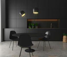 idée de coin de repas et table ronde avec déco en noir