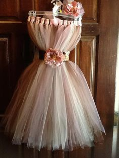 vintage style Tutu dress Pink Brown and biege  with by mapymorales, $35.00