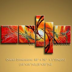 "Stunning HUGE Multiple Panels Canvas Wall Art Modern Art Abstract 68"" x 36"" #1159 | Modern_Abstract_Art - Painting on Ar"