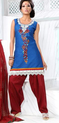 $58.38 Blue Sleeveless Cotton Short Punjabi Salwar Kameez 18706