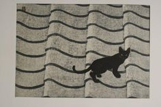 Cat on Roof | woodblock print, mid-20th century | Seiji Aoyama
