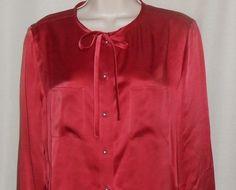 TALBOTS Blouse SILK Shirt Top Pearl Buttons Women Size 10 Long Sleeve Rust #Talbots #Blouse #Career