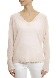 Pink Diamond Frayed Edge V-neck Sweater Rose Clothing, Sweater Weather, Knitwear, Bell Sleeve Top, V Neck, Diamond, Blouse, Sweaters, Pink