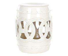 Sgabello in ceramica Ibiza bianco, 33x43x33 cm