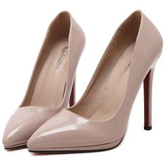 Nude Pointy PU Stiletto Heels ($39) ❤ liked on Polyvore featuring shoes, pumps, heels, sapatos, zapatos, stiletto shoes, high heel stiletto pumps, heel pump, stiletto heel shoes and nude shoes