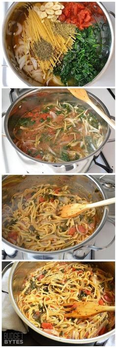 Italian Wonderpot SOUP *4 cups broth •2 T olive oil •12 oz broken fettuccine •8 oz spinach •28 oz can diced tomatoes + juice •1 onion •4 t minced garlic •½ T basil •½ Tbsp thyme •¼ t red pepper •2 oz feta cheese In soup pot, SAUTE onion & minced garlic in oil until tender. Submerge remaining ingredients under liquid. Cover pot & BOIL. Remove lid, reduce heat & Simmer & stir 15 min or until pasta is cooked and most liquid is absorbed. Crumble feta over top to serve
