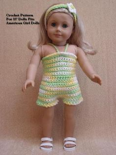 "Doll Clothes Crochet Pattern LL13 Sun Suit Fits American Girl Dolls 18"" Dolls 