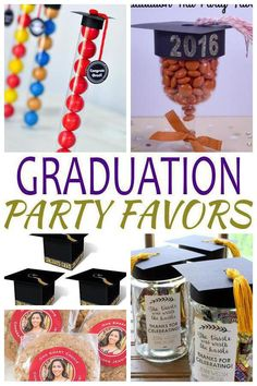 Graduation Party Favors! The best graduation party ideas for any age. Gifts for guests that they will love to take home. From goodie bags to chocolate to candy and more - find the best party favors for a gradation party. Perfect for college, Kindergarten, middle school 8th grade, high school and even nursing school. There is something for everyone. Find unique, simple and creative ideas for boys, for girls, kids and adults. Get fun DIY ideas and more. Look at the best graduation party favors…