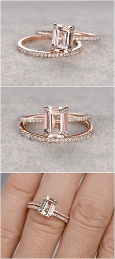 2pc 6x8mm Morganite Engagement ring set Rose gold / http://www.deerpearlflowers.com/emerald-cut-engagement-rings/2/