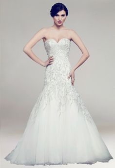 Strapless Beading Organza Mermaid Train Bridal Wedding Dress