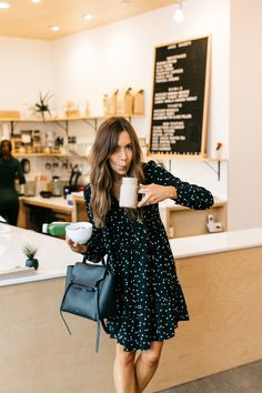 polka dot kate spade dress, juice society in austin
