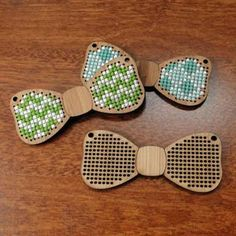 Cute laser cut and cross stitched Bow ties