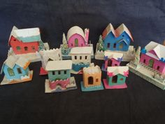 Putz Carboard Christmas Village Set of 11 Houses From the 50's - The Vintage Village