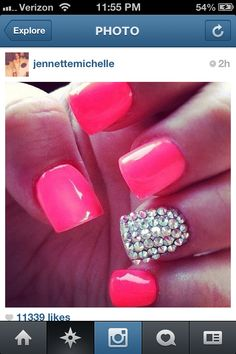 Pink nails w/ silver dimond on it