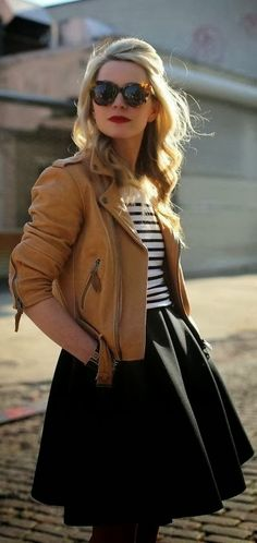 see more Gorgeous Brown Leather Jacket, Black Lined Blouse and Black Skirt