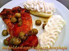 A olívás csirkecombokhoz: • 6 db csirkecomb kicsontozva / egész csontos csirkecomb is jó/ • 1 kis üveg olíva bogyó • 1 db rozmaring ág vagy szárított rozmaring • szárnyas fűszerkeverék • só • őrölt bors • 1/2 dl olíva... Feta, Pancakes, Breakfast, Morning Coffee, Pancake, Crepes