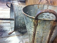 Zinc Baskets, think these are olive buckets?
