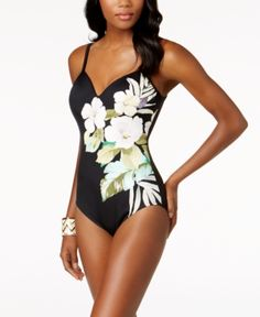 785a8440b4 Swim Solutions Floral Sweetheart Allover Slimming One-Piece Swimsuit