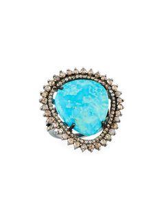 Bavna Diamond & Mixed Turquoise Ring, Size 8
