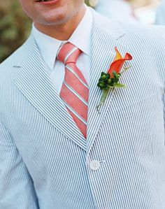 Searsucker Jacket and Orange Lily Boutonniere