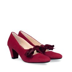 Garland Cherry Red Suede Mary Jane with mid-heel and velvet bow - duo