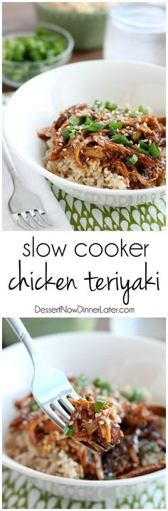 Slow Cooker Chicken Teriyaki cooks while you are away and tastes authentic! A great excuse to have Japanese at home! on MyRecipeMagic.com