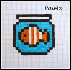 Les Créas de ValMa: Mes Dessins Pixels - Septembre 2017 Pixel Art Templates, Perler Bead Templates, Perler Patterns, Graph Paper Drawings, Graph Paper Art, Pixel Pattern, Pattern Art, Pixel Art Animals, Cross Stitch Designs