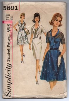 """1960's Simplicity One-Piece Dress with Tie Collar in Pencil or Full Skirt Pattern - Bust 38"""" - No. 5891 by backroomfinds on Etsy"""