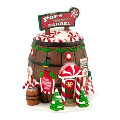 North Pole Series - Pop's Peppermint Barrel   Department 56 Villages, Free Shipping on Dept 56