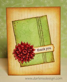 Copic Flower on Distressed Background Card Video Blog Tutorial by Darlene Devries