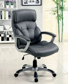 Dilbeek Gray Silver Leatherette Height Adjustable Office Chair
